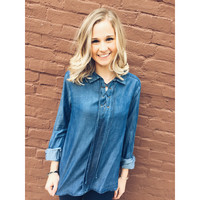 Bridgette Lace Up Denim Blouse
