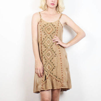 Vintage 90s Dress Boho Dress Tan Embroidered Hippie Mini Dress Bohemian 1990s Dress Soft Grunge Sundress Sleeveless Babydoll S M Medium L XL