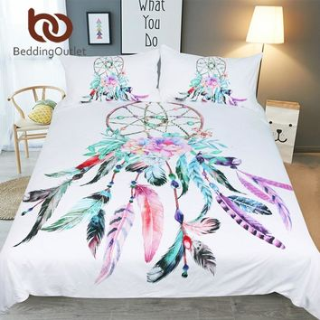 BeddingOutlet Dreamcatcher Bedding Set Queen Beautiful Feathers Duvet Cover With Pillowcases Bohemian Bedclothes White Bed Set