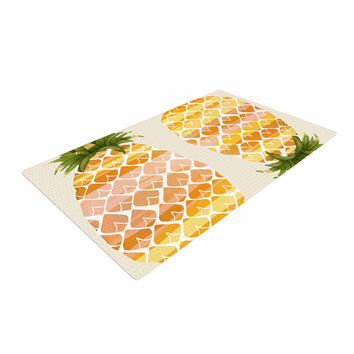 """Judith Loske """"Happy Pineapples """" Yellow Gold Woven Area Rug"""