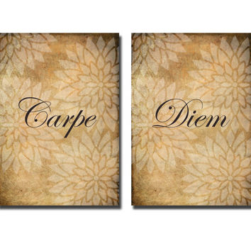 Carpe diem - Digital art print  -  instant download - Modern art print - typography print  -   -flowers print set -  wall art print
