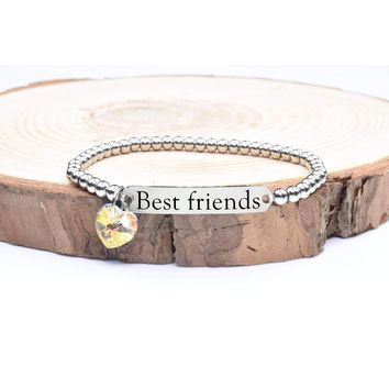 Beaded Inspirational Bracelet With Crystals From Swarovski By Pink Box - Best Friends