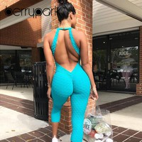 BerryPark 2019 Sportswear Workout Clothes for Women Blue Fitness Yoga Set Leggings Running Wear Sport Suit Gym Backless Bodysuit