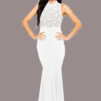 Streetstyle  Casual White Mosaic Rhinestone Cut Out Trumpet Band Collar Bodycon Elegant Party Maxi Dress