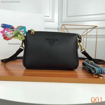 HCXX 19Aug 988 Prada Fashion Leather Zipper Double Bag Shoulder Crossbody Pouch Bag 21-15-9cm