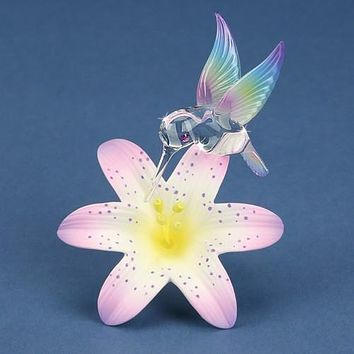 Glass Baron Hummingbird And Lavender Lily Glass Figurine