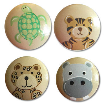 Hand Painted Wild Jungle Animals Drawer Knobs Nursery Cabinet Pulls