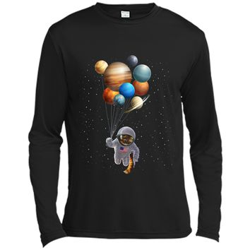 Astronaut Cat in Space Holding Planet Balloon  Long Sleeve Moisture Absorbing Shirt