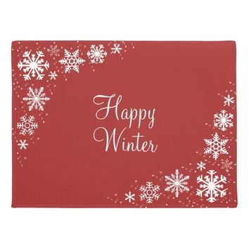 Snowflakes Red White Winter Doormat