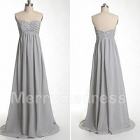 Light Grey Sweetheart Long Empired Bridesmaid Celebrity Dress,Floor Length Chiffon Formal Evening Party Prom Dress New Homecoming Dress