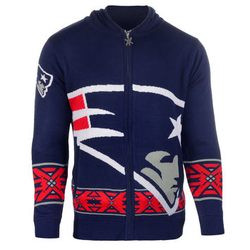 New England Patriots Forever Collectibles KLEW Full Zip Sweater Sizes M-XXL w/ Priority Shipping