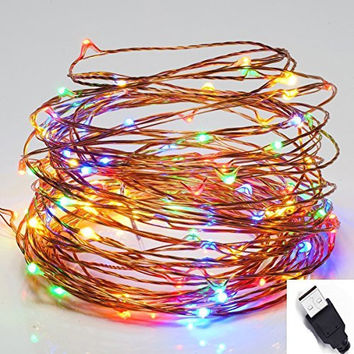 2016 new 10M 33FT 100 led Outdoor USB Led Copper Wire String Lights Christmas Festival Wedding Party Decoration Fairy Lights