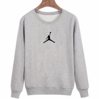 Trendy Men's Jordan Print Round Neck Long Sleeve Sweater Pullover