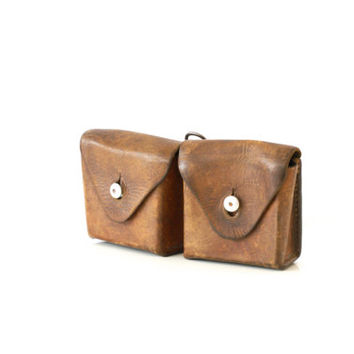 SWISS ARMY Ammunition Bag, Military Ammo Case or Pouch from WW1, marked 1918, 2 Compartments, Belt Loops, Made in Switzerland
