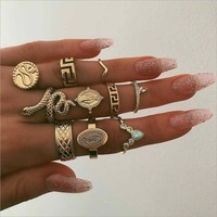 10 Piece Snake Ring Set