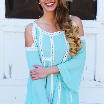 Minty Fresh Cold Shoulder Tunic