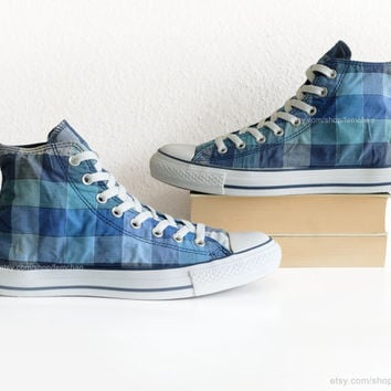 Blue check pattern Converse high tops, gingham All Stars, plaid print vintage sneakers. Size eu 42.5 (UK 9, US men's 9, US wo's 11)