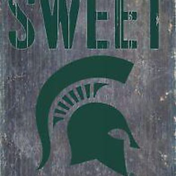 "Licensed Michigan State Spartans NCAA Wood Sign - Home Sweet 6""x12"" Fan Creations KO_19_1"