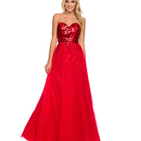 Red Sequin & Tulle Strapless Dress 2015 Prom Dresses