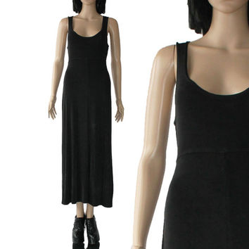 Slinky Black Maxi Dress Long 80's 90's Stretchy Bodycon Goth Grunge Hipster Minimalist Clothing Women's Size Small