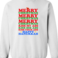 Merry Christmas Kiss My Ass Kiss His Ass Kiss Your Ass Happy Hanukkah Christmas Sweater Shirt Hoodie ugly Funny Mens Ladies cool MLG-1103