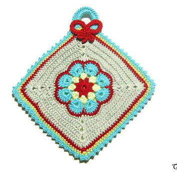 Colorful crochet potholder, handmade potholder, presina colorata ad uncinetto
