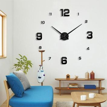 New wall clock modern designHome decoration big mirror 3D DIY large decorative wall clocks watch unique gift Free