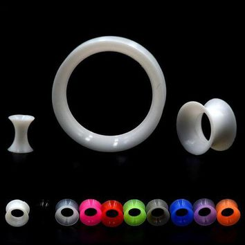 ac ICIKO2Q Showlove 2 pcs/lot Thin Silicone Flexible Skin Ear Tunnel Plugs Double Flare Hollow Gauges Expanders Ear piercing Body jewelry