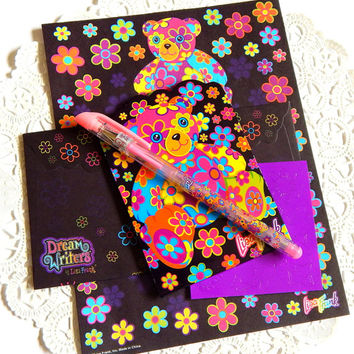 Vintage Lisa Frank Stationery. Dream Writers. Stationery Set. Flower Stationery. Black Paper. Rainbow Stationery. Junk Journal Paper.