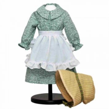 "Little House Green Calico Dress for 18"" Dolls, Clothing and Accessories For 18"" Girl Dolls"