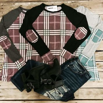 3600 Gray and Teal Plaid Elbow Patch Long Sleeve Top (E-3)