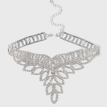 Rhinestone Drop Choker - Jewellery & Watches - Accessories