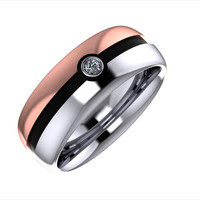 2- Silver and rose gold pokeball wedding bands with diamond center Sz 7.25 and 11
