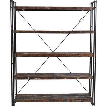 Abran Industrial Reclaimed Wood & Metal Book Shelf/Wall Unit