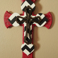 Red with White and Grey Chevron Cross