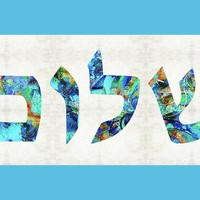 Shalom 19 - Jewish Hebrew Peace Letters Greeting Card