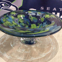 Hand Blown Glass Seattle Seahawks Bowl.  12th Man Bowl.  Seahawks Colors Blown Glass Bowl