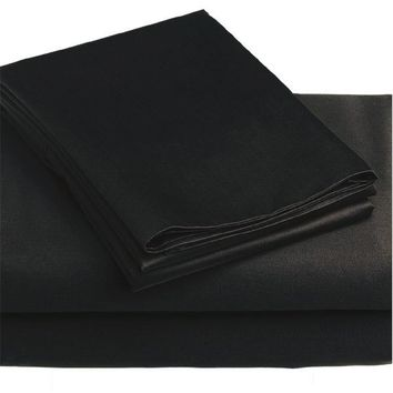 3pc Black Solid Color Bedding Twin-Single Bed Sheet Set