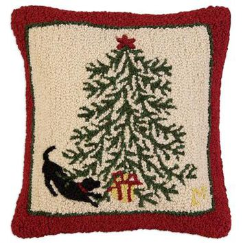"Gift Under the Tree Hooked Pillow 18""L X 18""W"