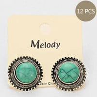 Turquoise Rimmed Earring Set (12 Pairs)