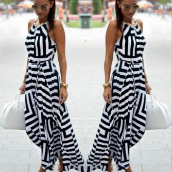 Printed black and white geometric loose strap dress