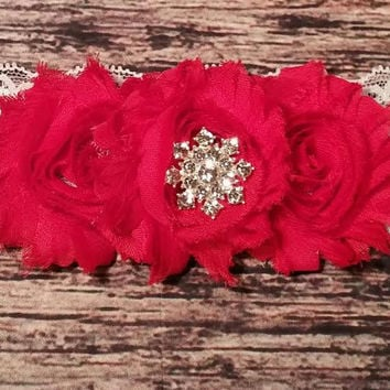 Red Shabby Flowers and Rhinestone Snowflake on White Lace Baby Girl Headband!