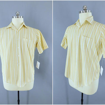 1960s Vintage Shirt / 60s Dress Shirt / Yellow Stripes / Casual Nylon Shirt / Beach Boys / Preppy