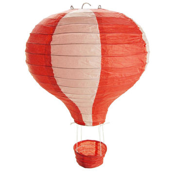 Striped Paper Hot Air Balloon Hanging Decor, 15-Inch, Red