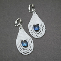 White Clip-on Earrings With Light Blue Accent