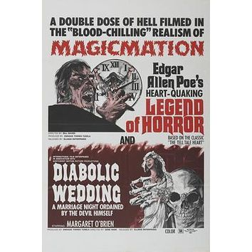 Legend Of Horror Double Feature Movie poster Metal Sign Wall Art 8in x 12in