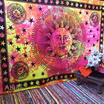 Twin Sun Moon Tapestry, Cotton Tie Dye Sun Moon Hippie Wall Hanging Tapestry Throw Indian Tapestry Bohemian Boho Ethnic Home Decor Bedspread