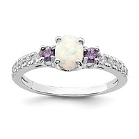 Sterling Silver Oval White Created Opal Genuine Amethyst And CZ Ring