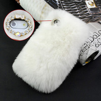 Bling Luxury  Rabbit fur hair case cover for iPhone5 5g Warm Best For Winter