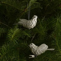 Silver Glitter Bird Clips (Set of 4)